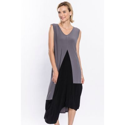 Colour Block Asymmetric Dress in Grey