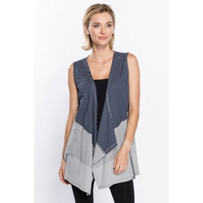 Classic Striped Print Vest in Slate
