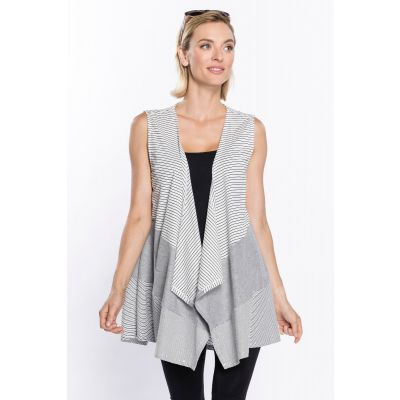 Classic Striped Print Vest in White