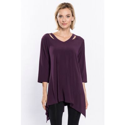 Cutout Front Asymmetric Tunic in Plum