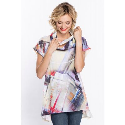 Abstract Print Tunic with Matching Scarf in Multi