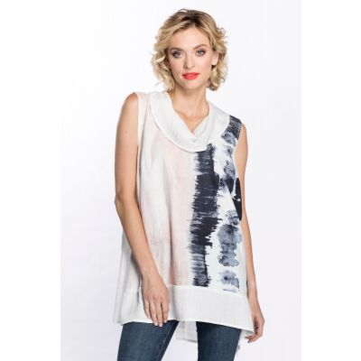 Abstract Print Cowl Neck Tunic in White