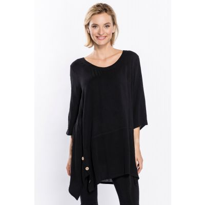 Button Detail Asymmetric Tunic in Black