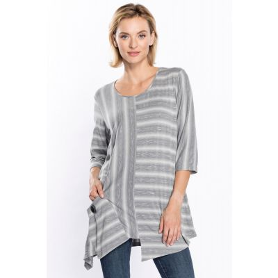 Front Pocket Sharkbite Tunic in Grey