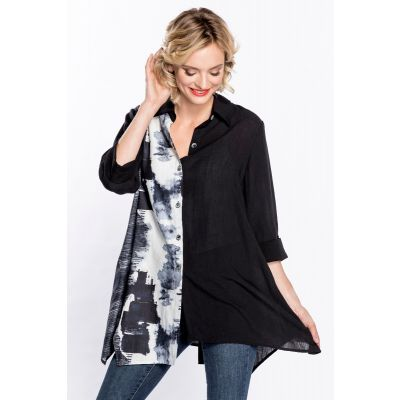 Button Back Print Tunic in Black