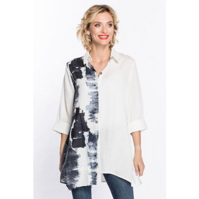 Button Back Print Tunic in White