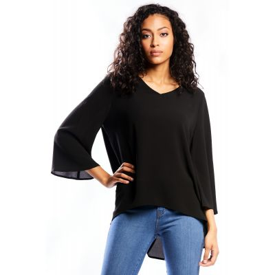 Crepe Flared Sleeve Top in Black