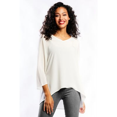 Crepe Flared Sleeve Top in White