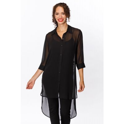 Extended Chiffon Blouse in Black