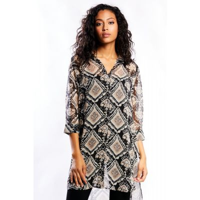 Extended Chiffon Print Blouse
