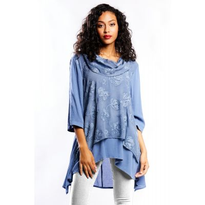 Elegant Lace Tunic with Draped Neck in Blue