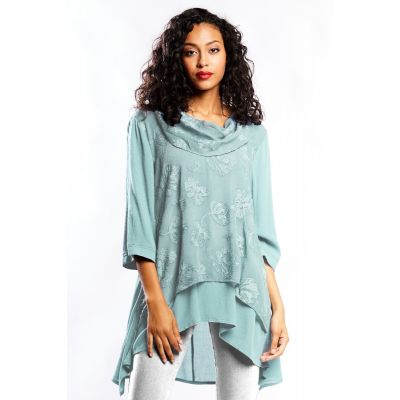 Elegant Lace Tunic with Draped Neck in Storm