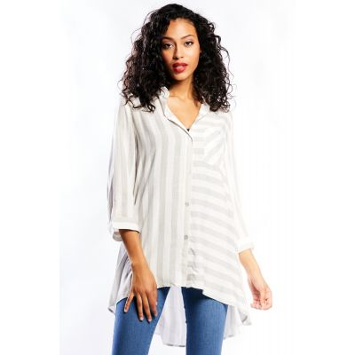 Wide-Striped Button Rumpled Tunic in Grey