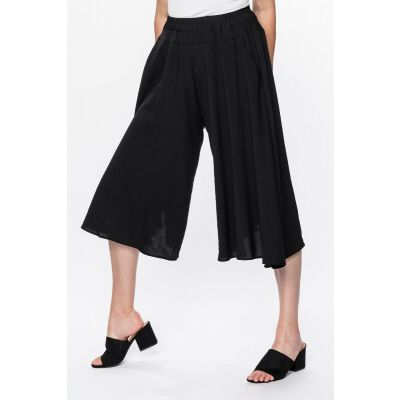 ONLINE EXCLUSIVE - Linen-Like Culottes in Black