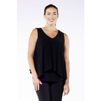Split-Back Sleeveless Top in Black