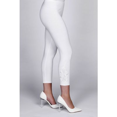 Appliqué Detail Capri Legging in White