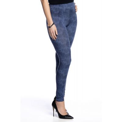 High-Waisted Denim Print Legging