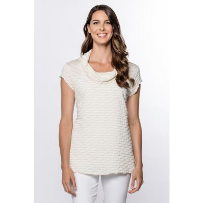 Cowl Neck Textured Top in Almond