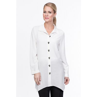 Long Sleeve Button Down Blouse in White