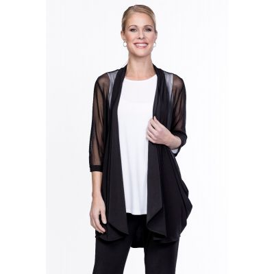 Draped Open Front Cardigan in Black