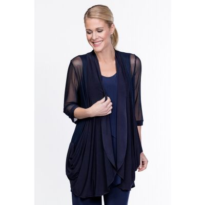 Draped Open Front Cardigan in Navy