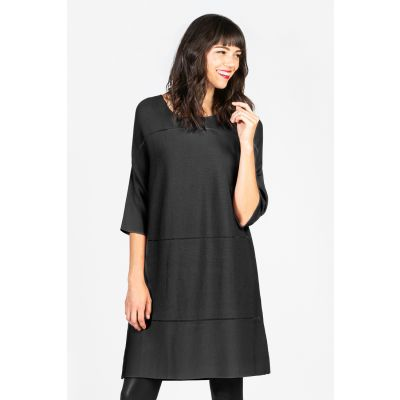 ¾ Sleeved Ribbed Tunic in Black