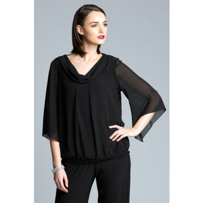 Embellished Chiffon Cowl Neck Top in Black