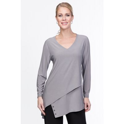Asymmetric V-Neck Tunic in Grey