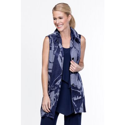 Abstract Print Vest in Navy