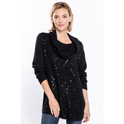 Cowl Neck Sequin Knit Sweater in Black