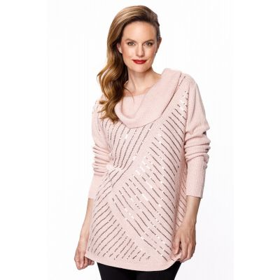 Cowl Neck Sequin Knit Sweater