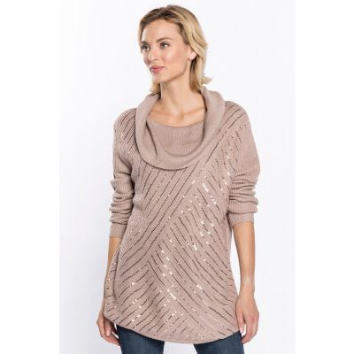 Cowl Neck Sequin Knit Sweater in Taupe