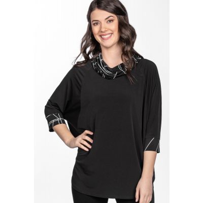Dolman Sleeve Print-Block Top