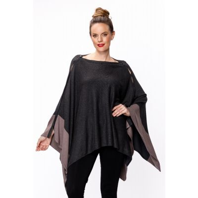 Multiway Colour-Block Poncho in Taupe