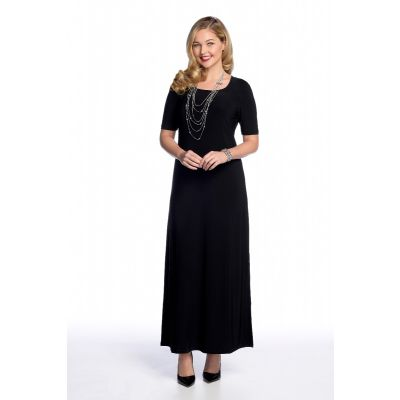 Elbow Length Maxi Dress in Black