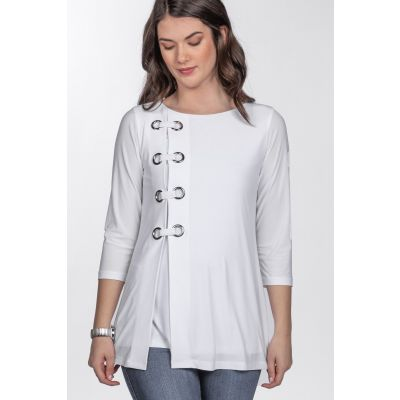 Eyelet Detail ¾ Sleeve Top in White