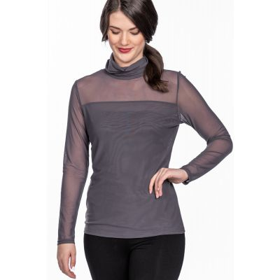 Mesh Sleeve Turtleneck Top in Grey