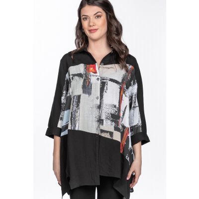 ONLINE EXCLUSIVE - Abstract Print Asymmetric Hem Tunic in Black