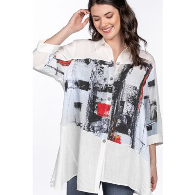ONLINE EXCLUSIVE - Abstract Print Asymmetric Hem Tunic in White