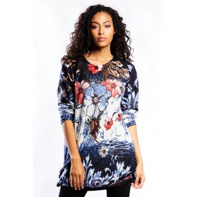 Embellished Floral Print Tunic Top