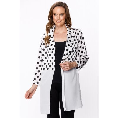Contrast Dot Jacket in White
