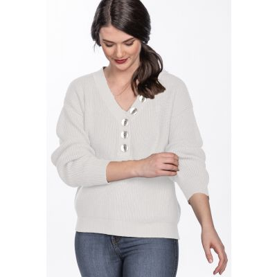 Pearlized Button Detail V-Neck Sweater in Ivory