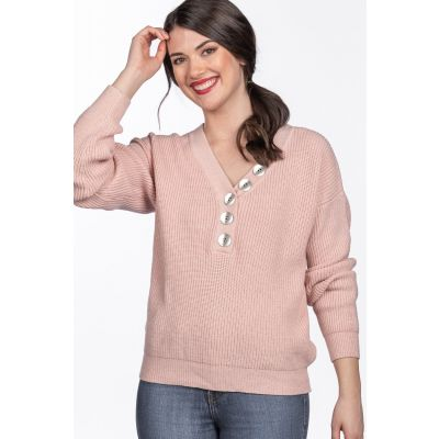 Pearlized Button Detail V-Neck Sweater in Pink