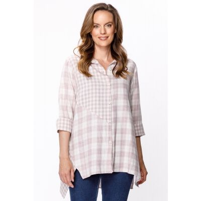 Mixed Pattern Button-Down Shirt in Strawberry Jam