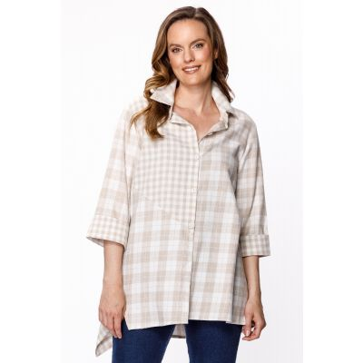 Mixed Pattern Button-Down Shirt in Wheat