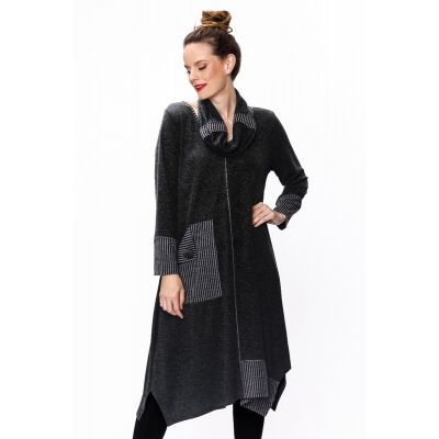 Extended Tunic with Cowl Neck and Pocket in Black