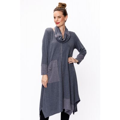 Extended Tunic with Cowl Neck and Pocket in Slate