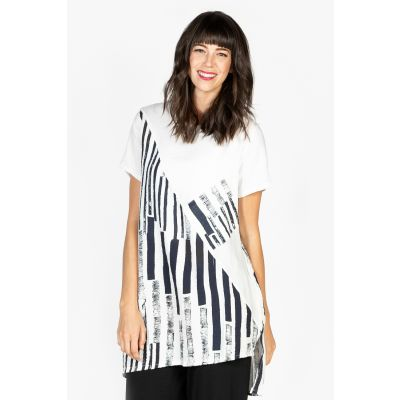 Abstract Print Hi-Low Tunic in White