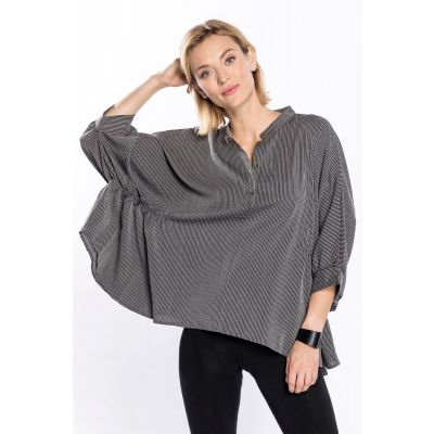 Oversized Ruched-Sleeve Top