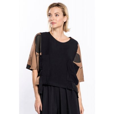 Oversize Short Sleeve Top in Brown